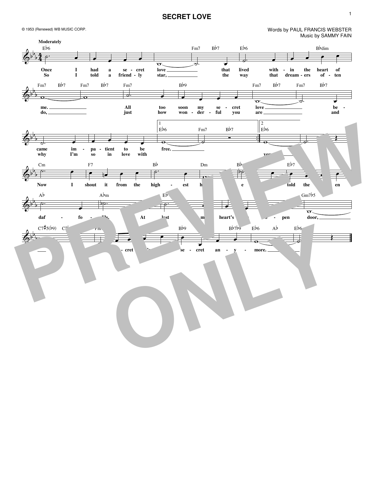 Secret Love (Lead Sheet / Fake Book)