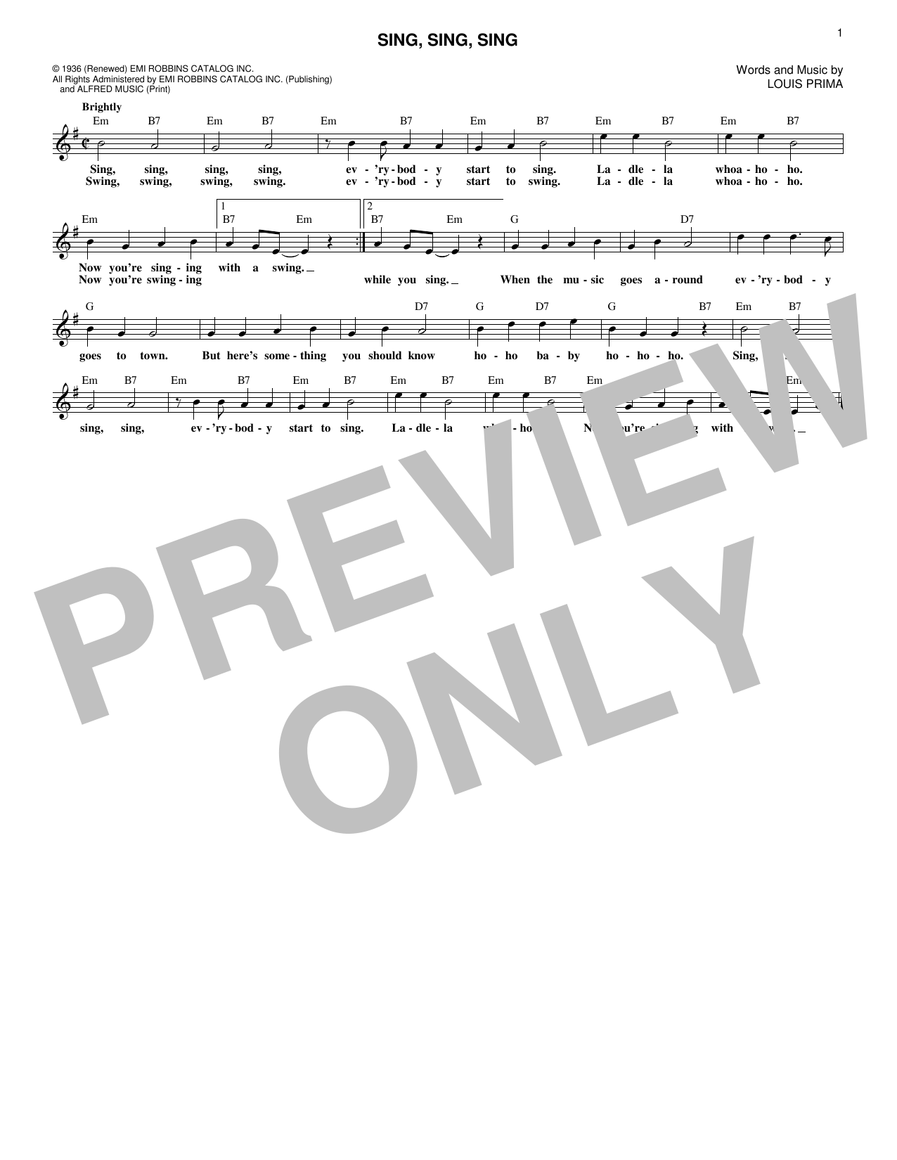 Sing, Sing, Sing (Lead Sheet / Fake Book)