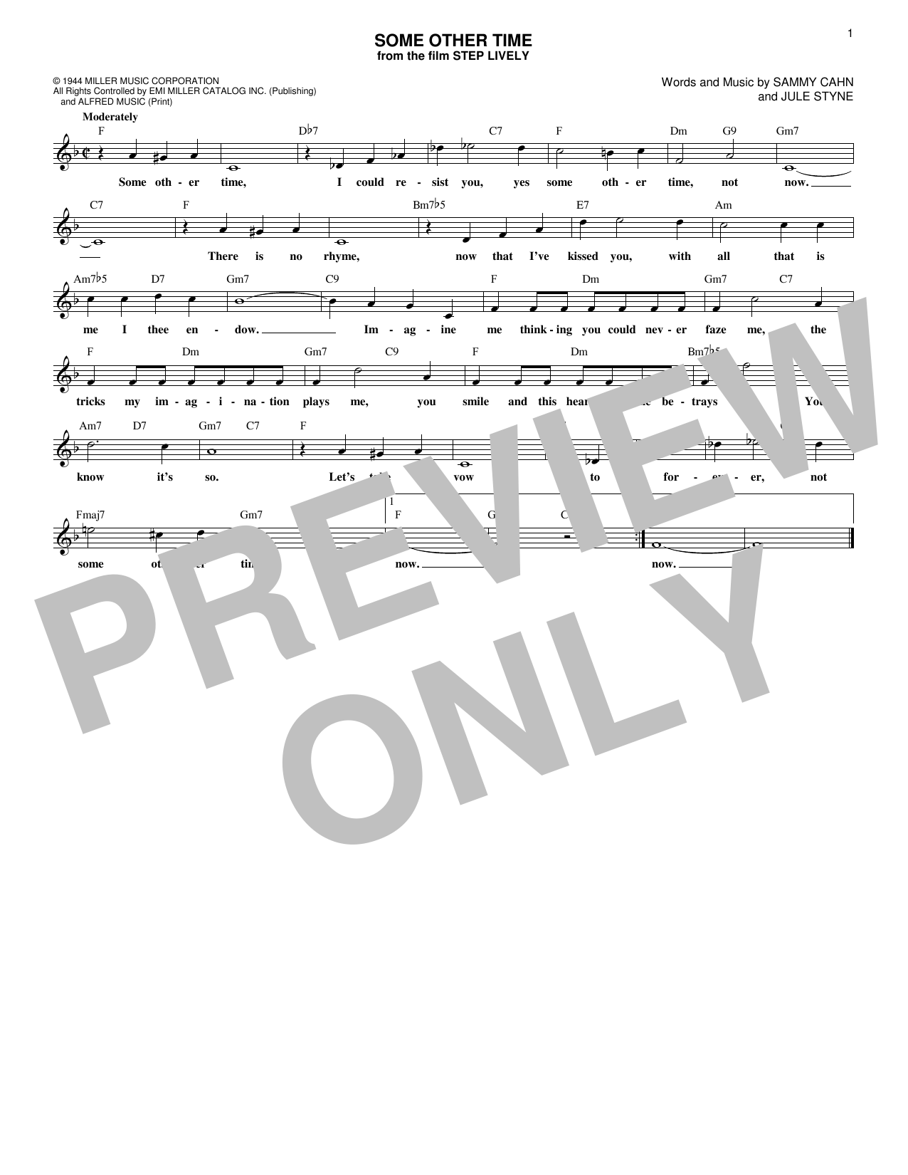 Some Other Time (Lead Sheet / Fake Book)