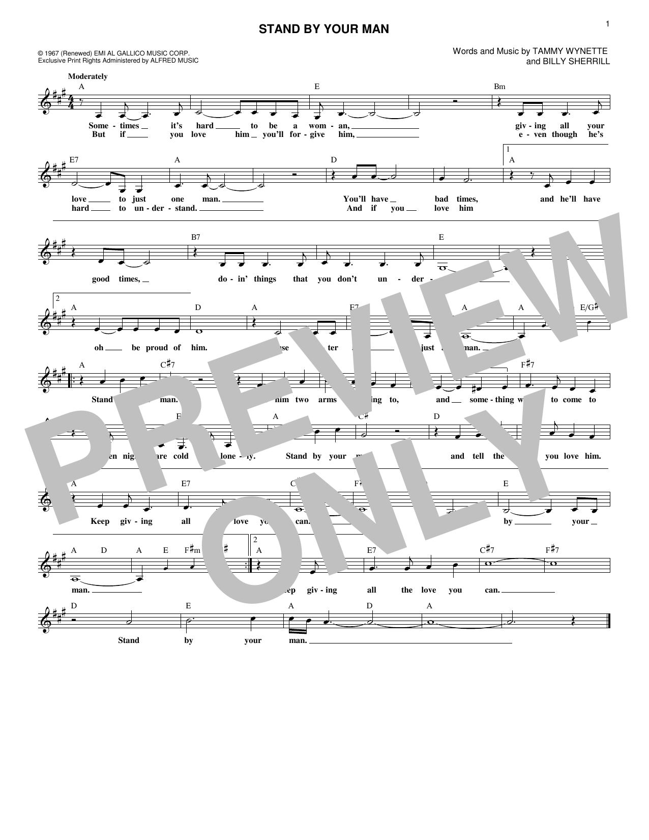 Stand By Your Man (Lead Sheet / Fake Book)