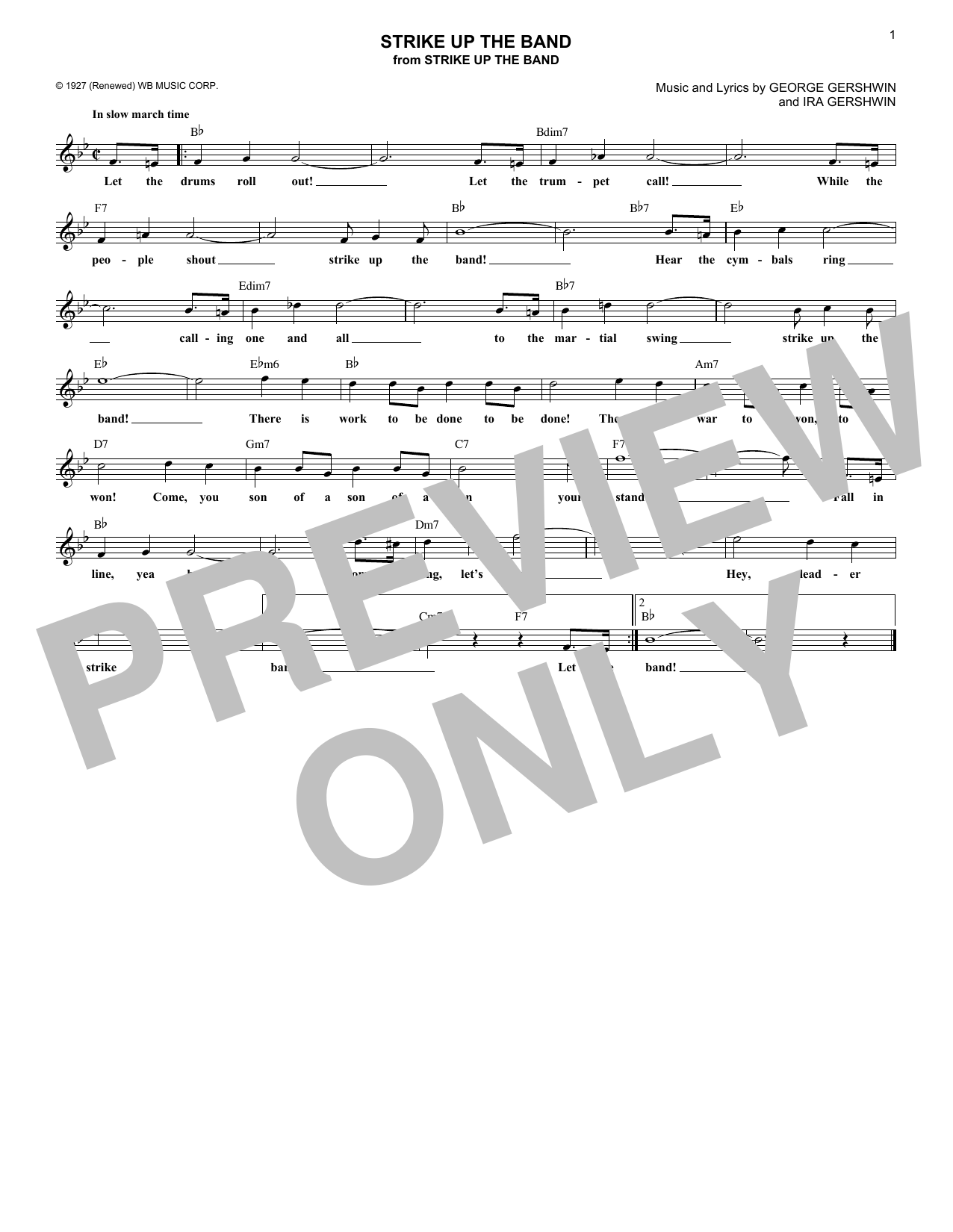 Strike Up The Band (Lead Sheet / Fake Book)