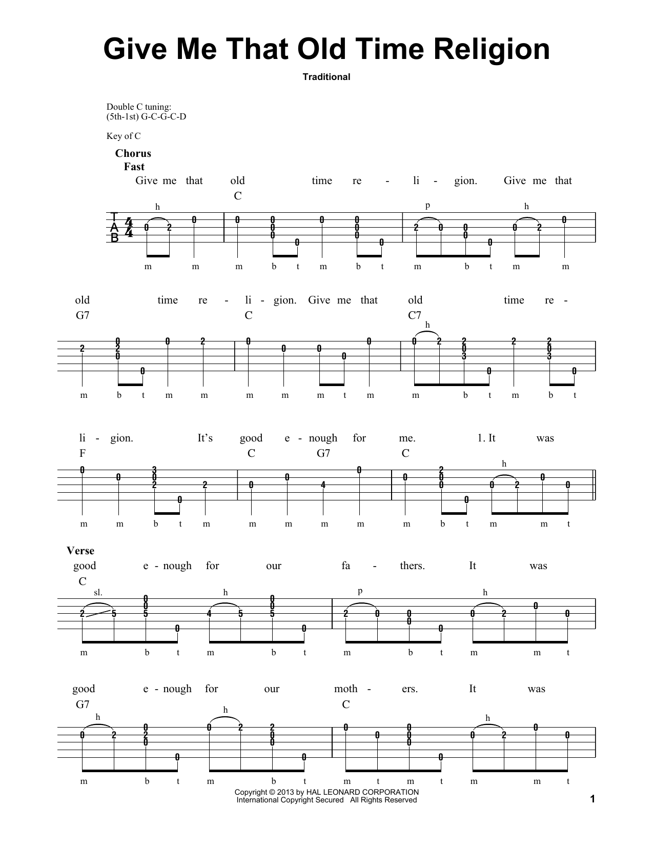 Give Me That Old Time Religion (Banjo Tab)