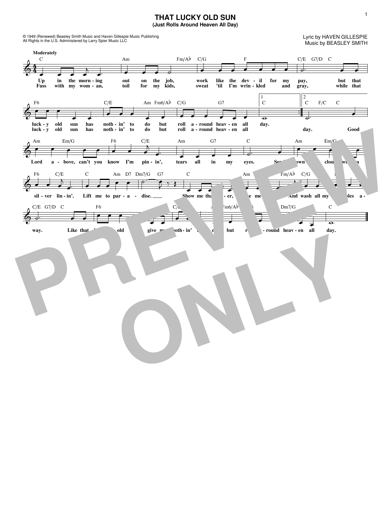 That Lucky Old Sun (Lead Sheet / Fake Book)