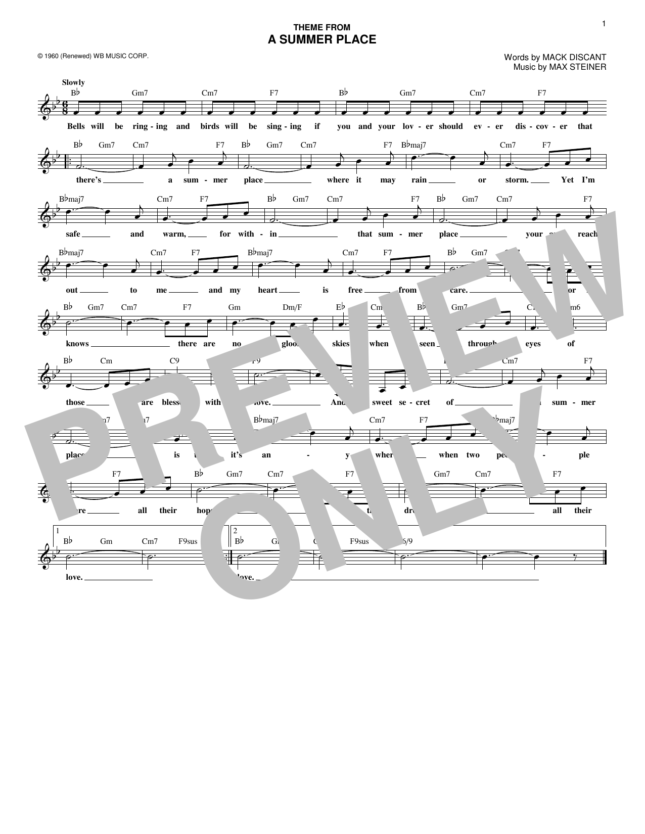 (Theme From) A Summer Place (Lead Sheet / Fake Book)