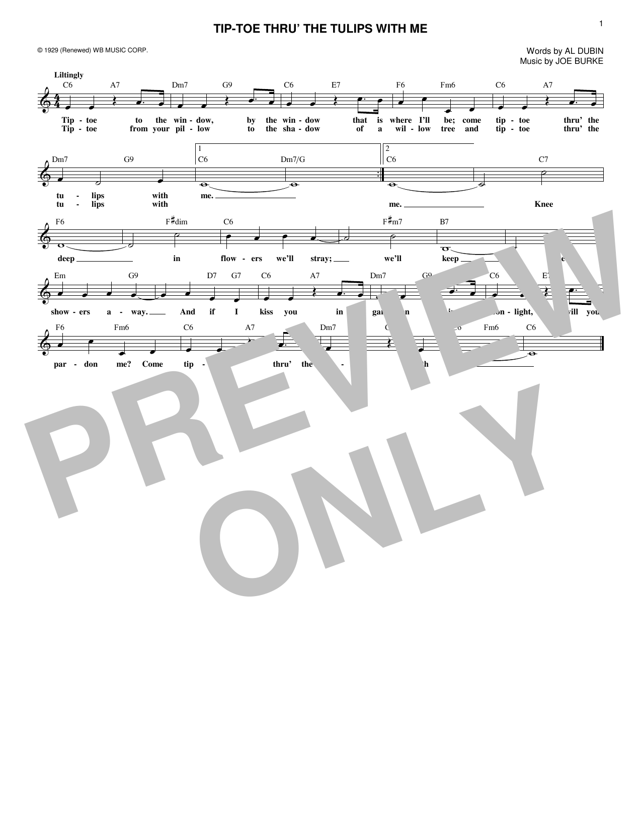 Tip-Toe Thru' The Tulips With Me (Lead Sheet / Fake Book)