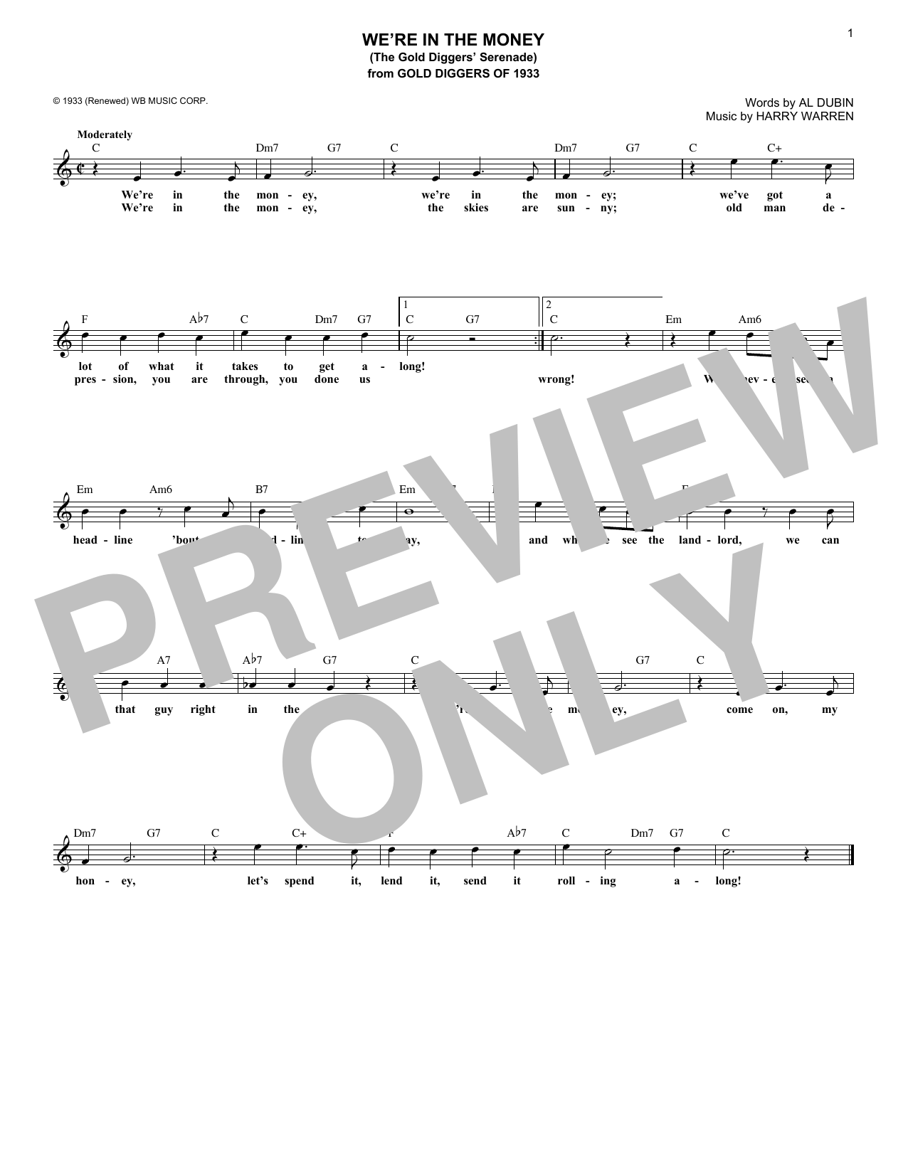 We're In The Money (The Gold Diggers Serenade) (Lead Sheet / Fake Book)