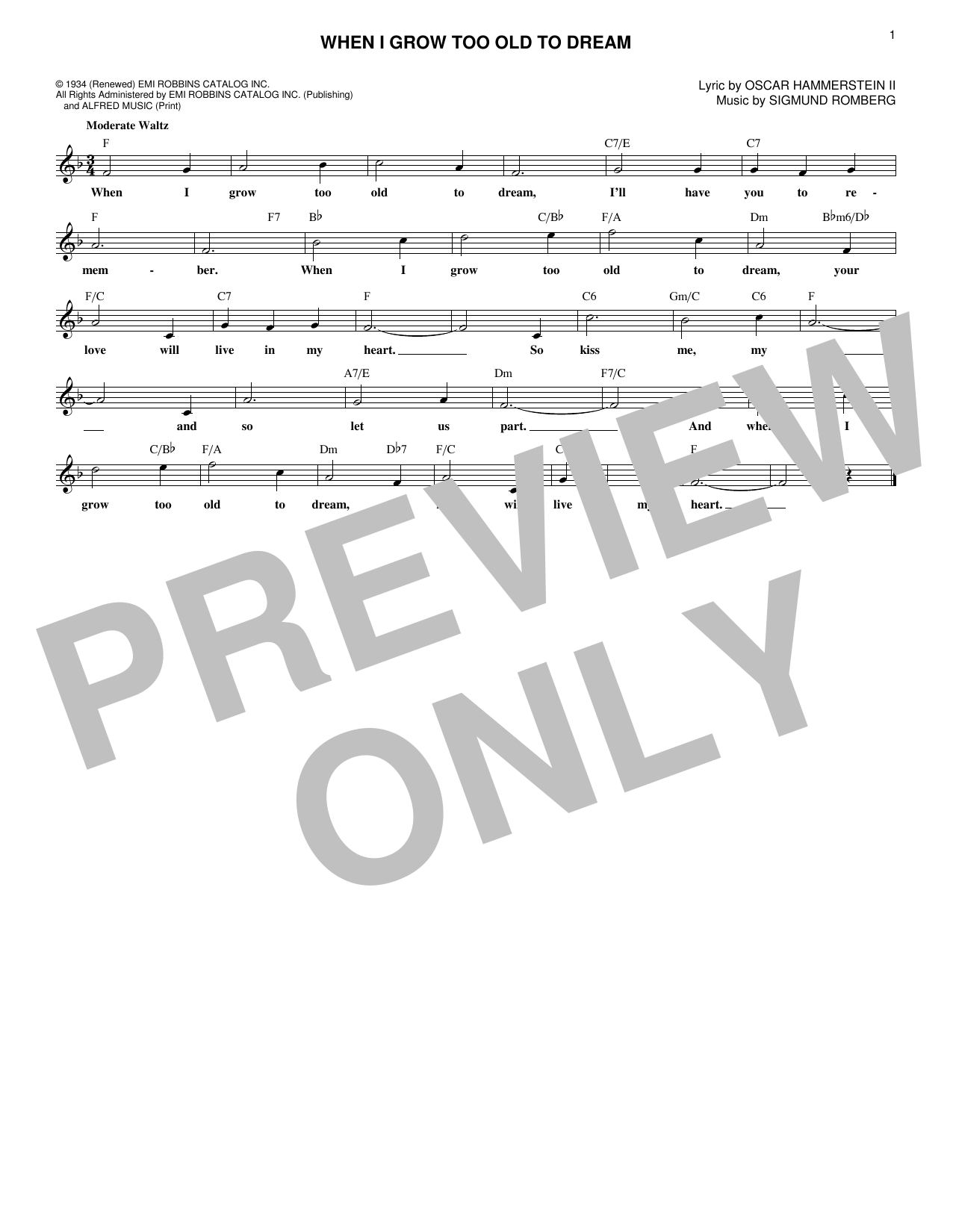 When I Grow Too Old To Dream (Lead Sheet / Fake Book)