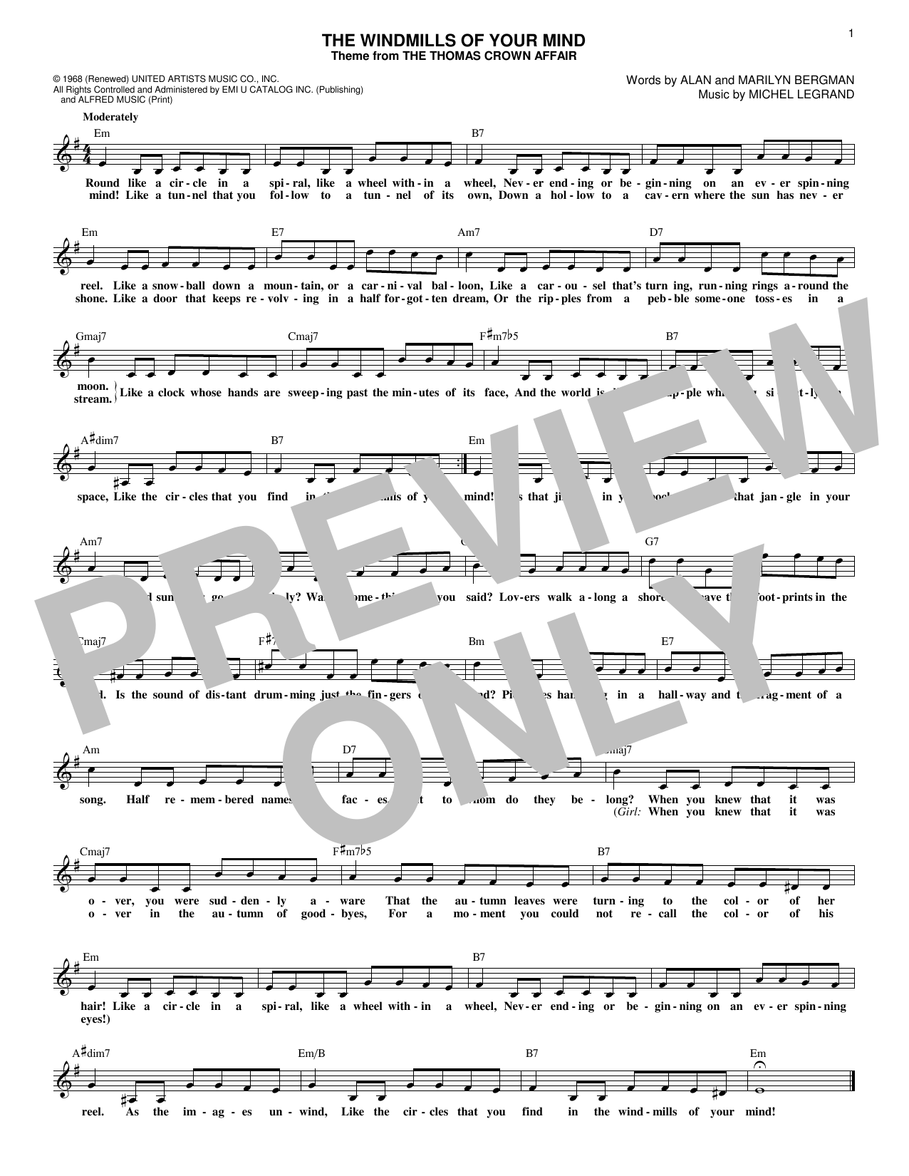 The Windmills Of Your Mind (Lead Sheet / Fake Book)
