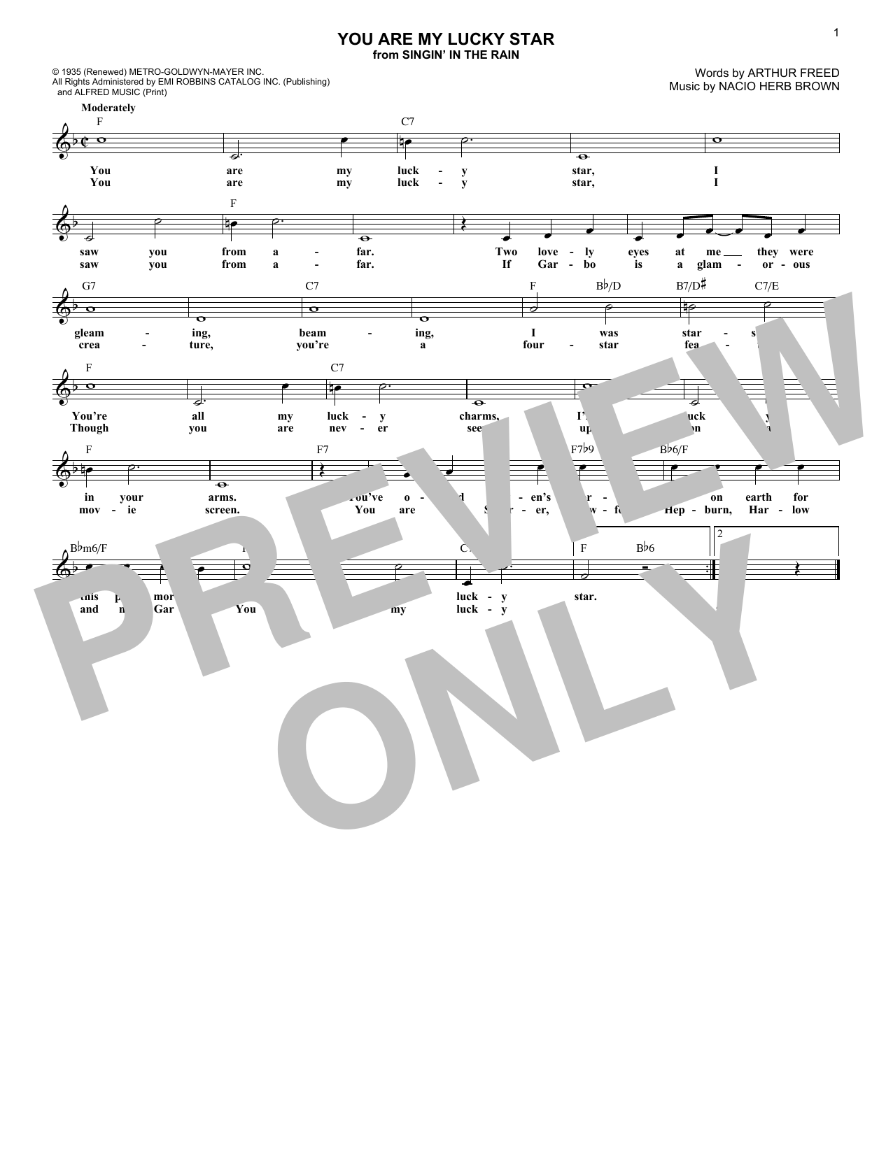 You Are My Lucky Star (Lead Sheet / Fake Book)