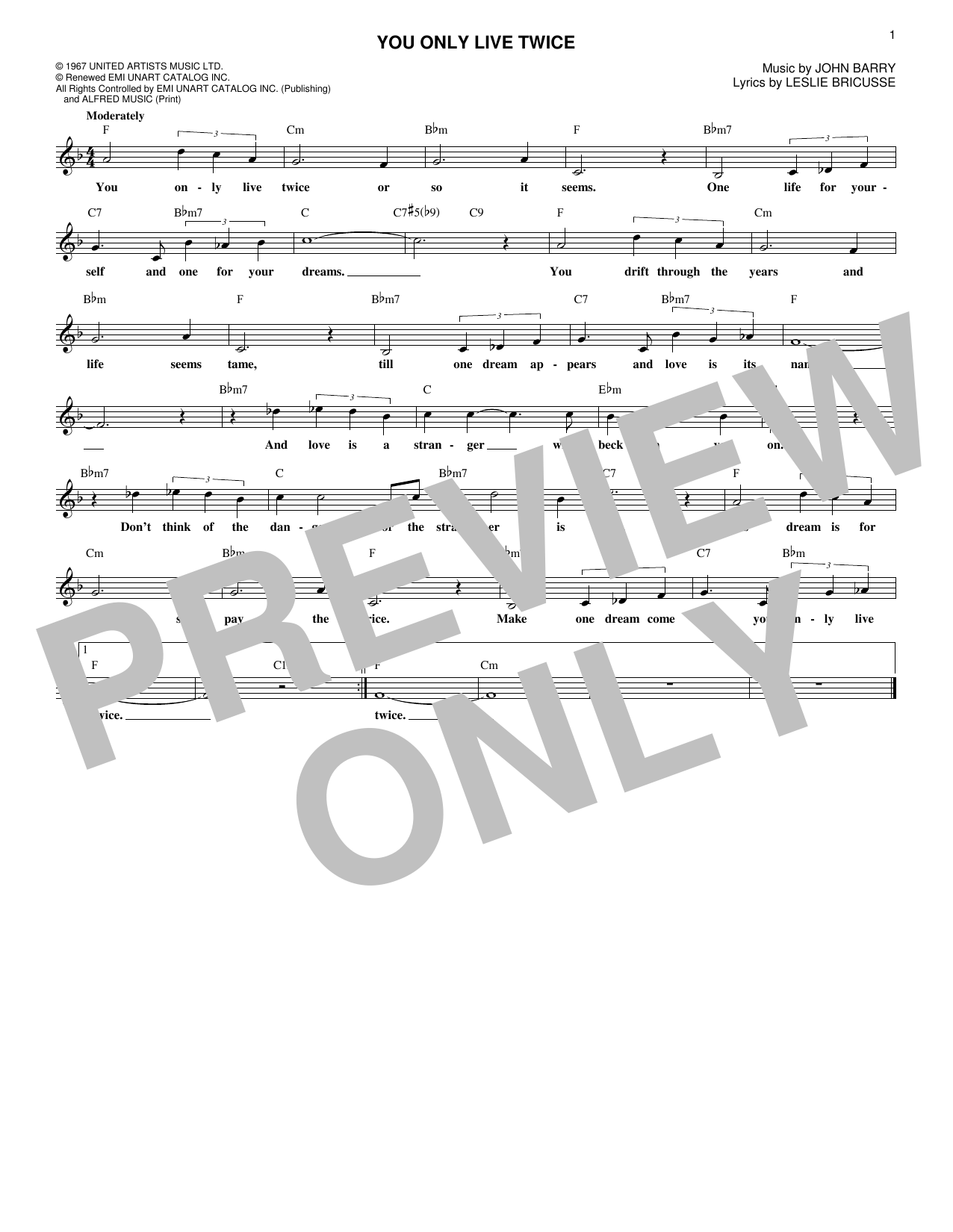 You Only Live Twice (Lead Sheet / Fake Book)