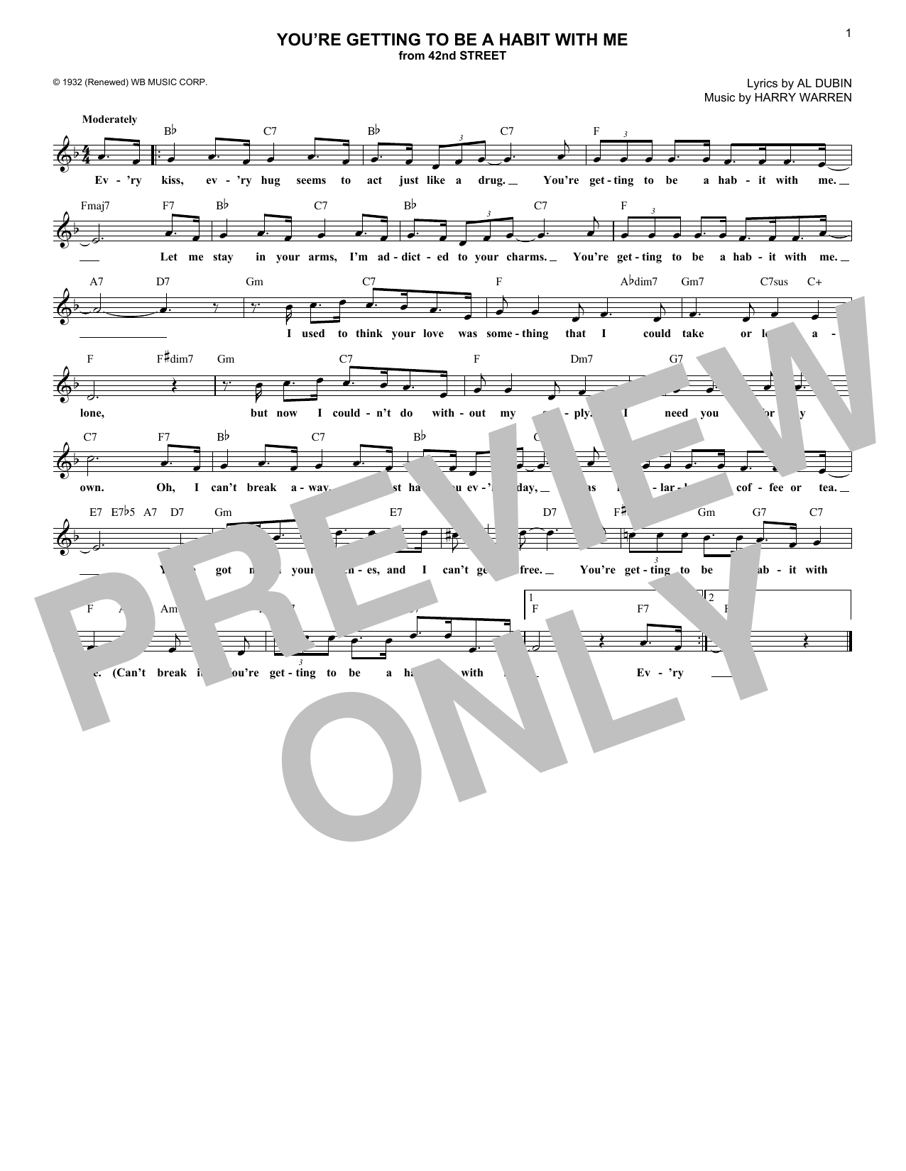 You're Getting To Be A Habit With Me (Lead Sheet / Fake Book)