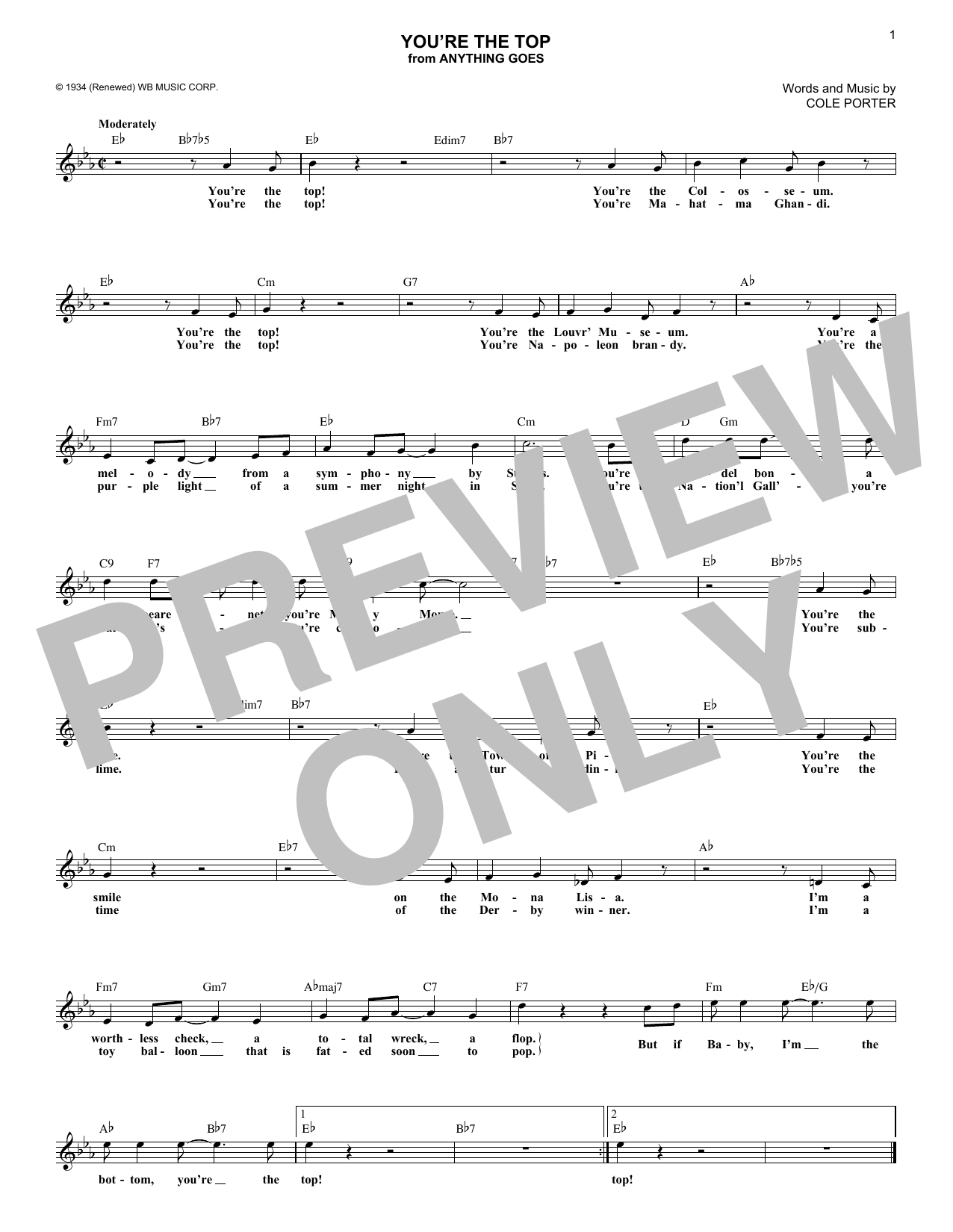 You're The Top (Lead Sheet / Fake Book)