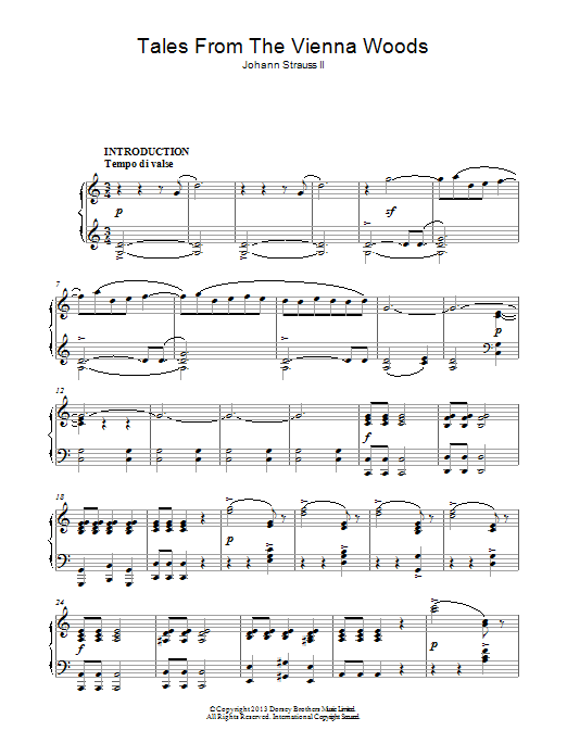 Tales From The Vienna Woods Sheet Music