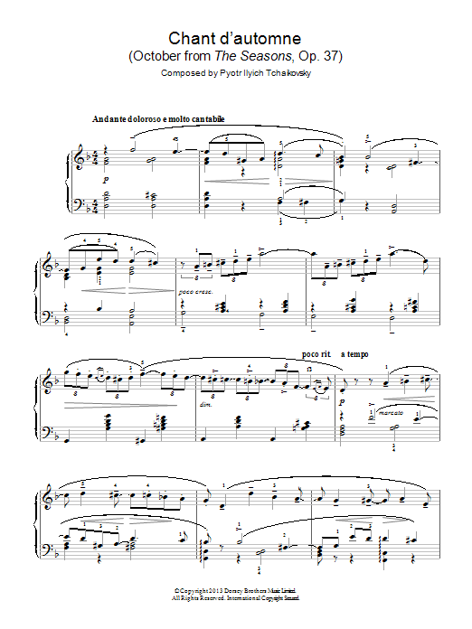 Chant d'automne (October from 'The Seasons' Op. 37) Sheet Music