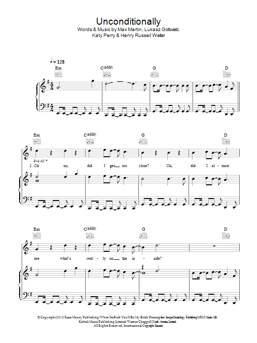 Unconditionally | Sheet Music Direct