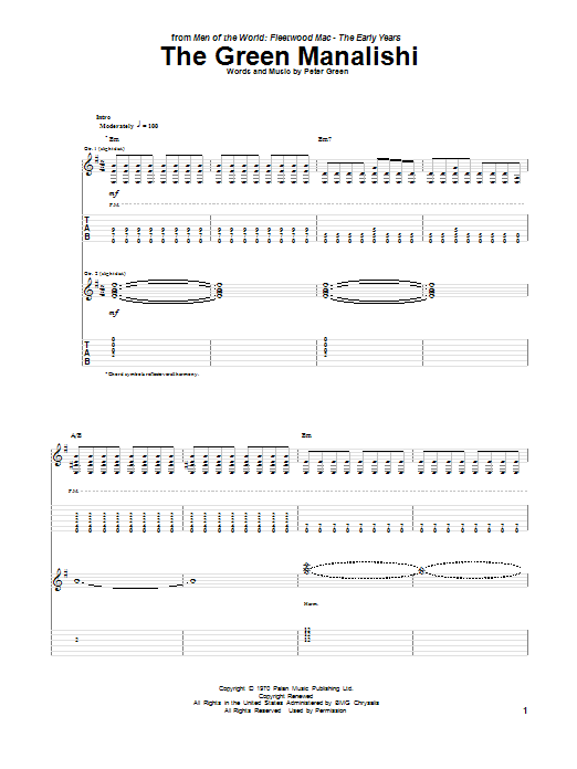 The Green Manalishi (Guitar Tab)