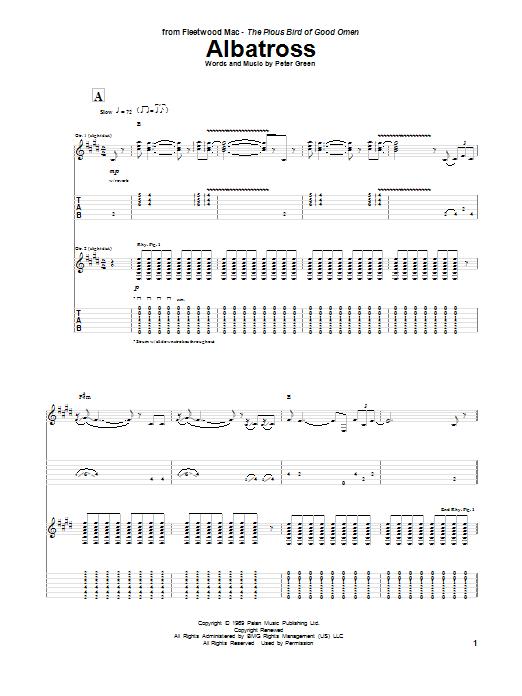 Tablature guitare Albatross de Peter Green - Tablature Guitare