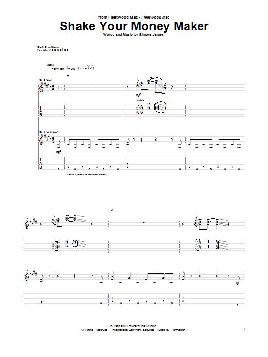 Shake Your Money Maker Sheet Music | Peter Green | Guitar Tab
