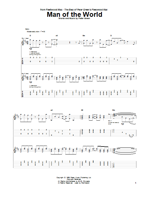 Tablature guitare Man Of The World de Peter Green - Tablature Guitare