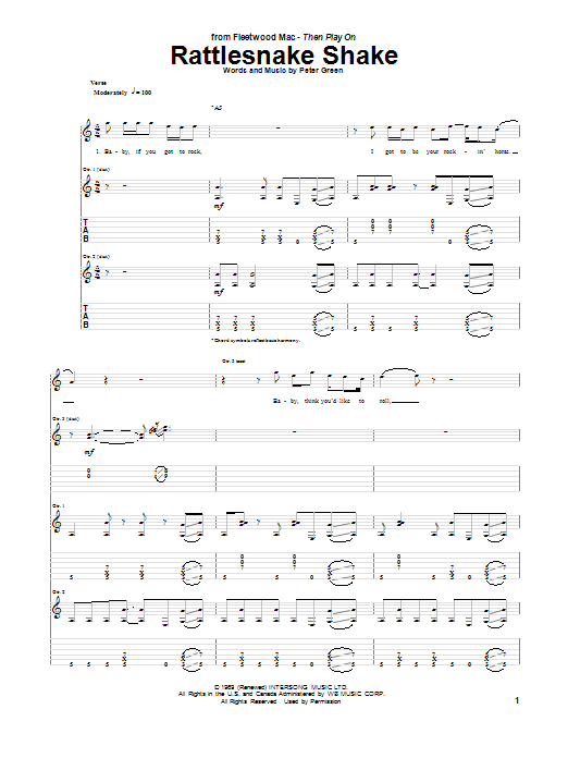 Rattlesnake Shake Sheet Music