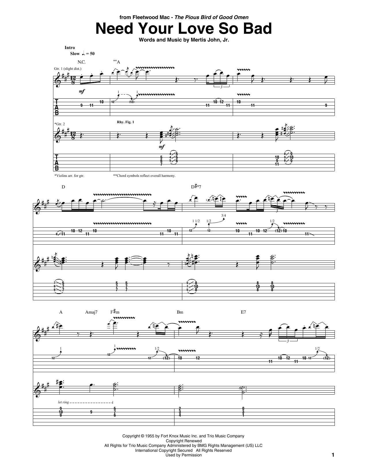 Need Your Love So Bad by Fleetwood Mac - Guitar Tab - Guitar Instructor