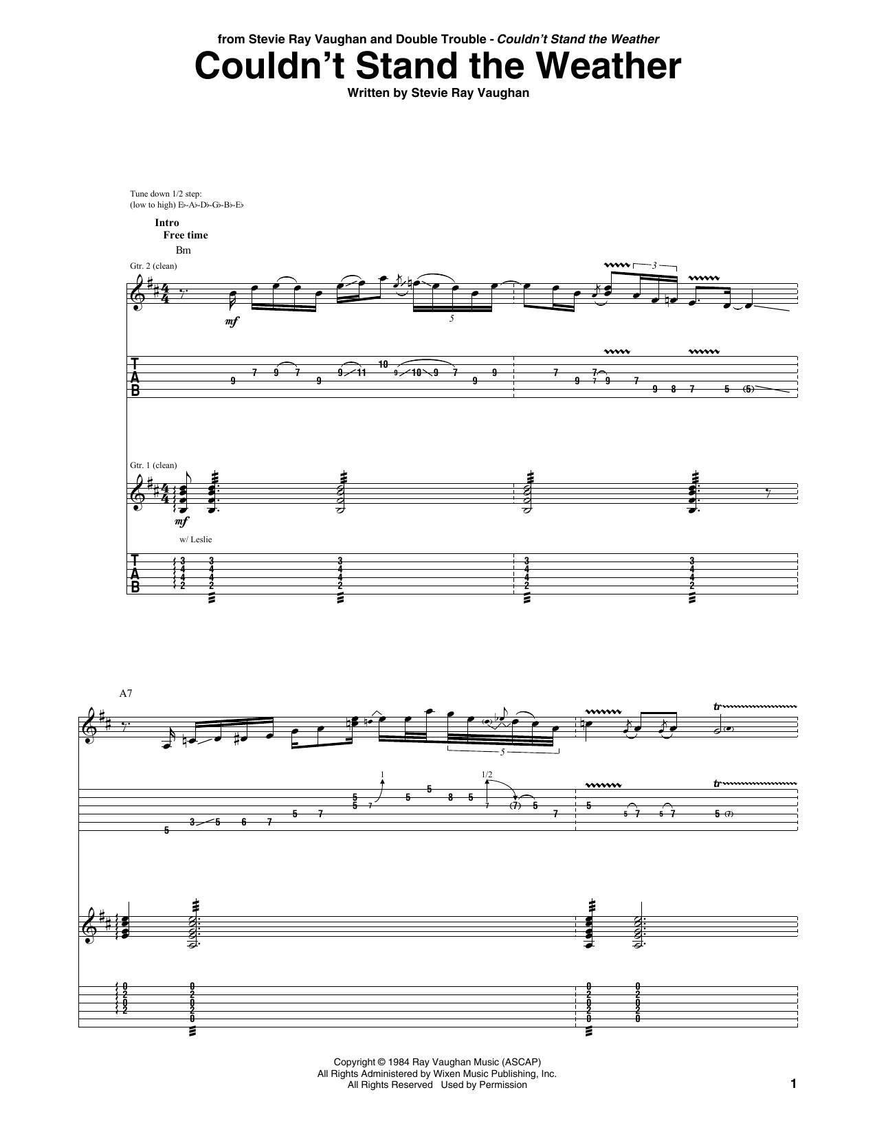 Tablature guitare Couldn't Stand The Weather de Stevie Ray Vaughan - Tablature Guitare