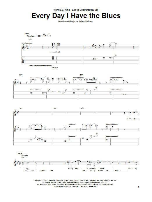 Tablature guitare Every Day I Have The Blues de B.B. King - Tablature Guitare