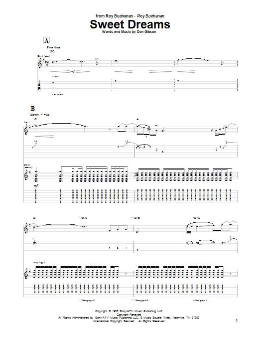 Sweet Dreams (Guitar Tab)