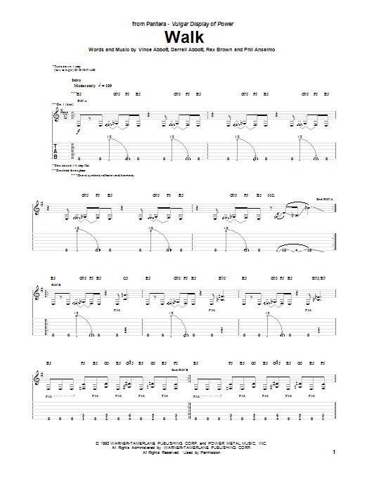 Walk Guitar Tab by Pantera (Guitar Tab – 151632)