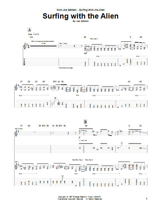 Surfing With The Alien Sheet Music