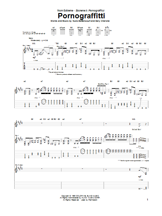 Pornograffitti Sheet Music