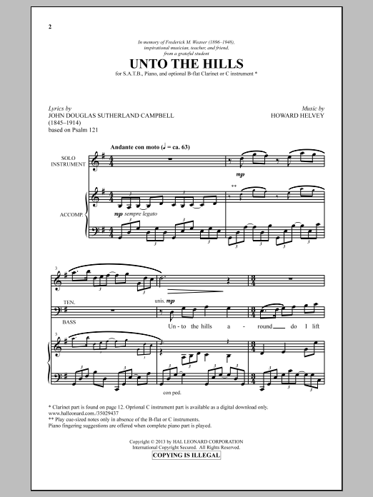 Partition chorale Unto The Hills de  - SATB