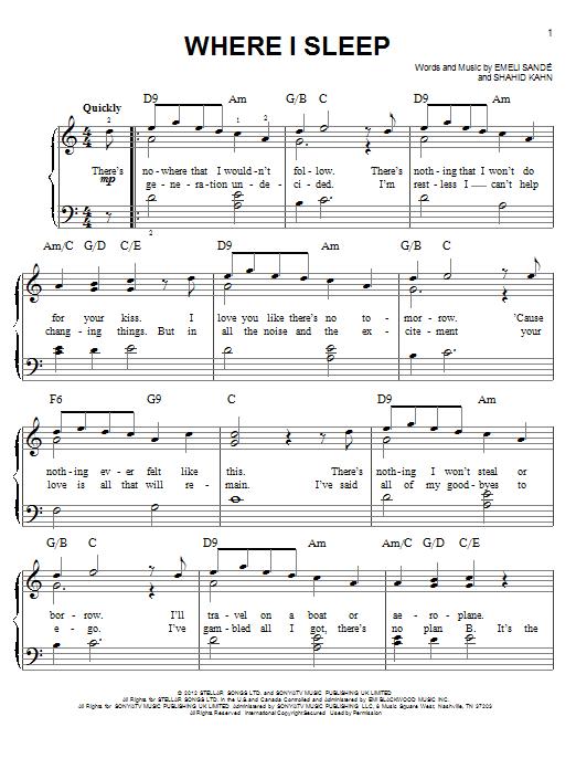Partition piano Where I Sleep de Emeli Sande - Piano Facile