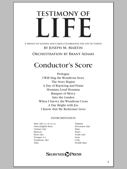 Testimony of Life (COMPLETE) sheet music for orchestra/band by Joseph M. Martin. Score Image Preview.