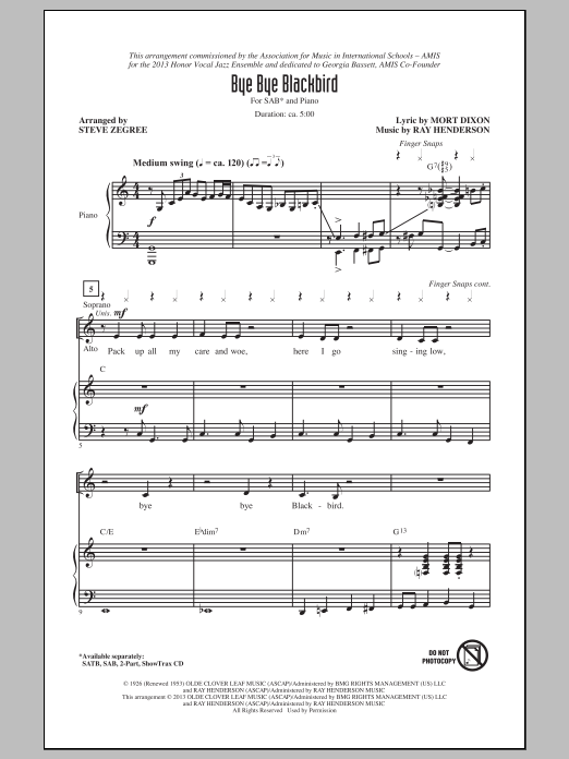 Bye Bye Blackbird (arr. Steve Zegree) Sheet Music