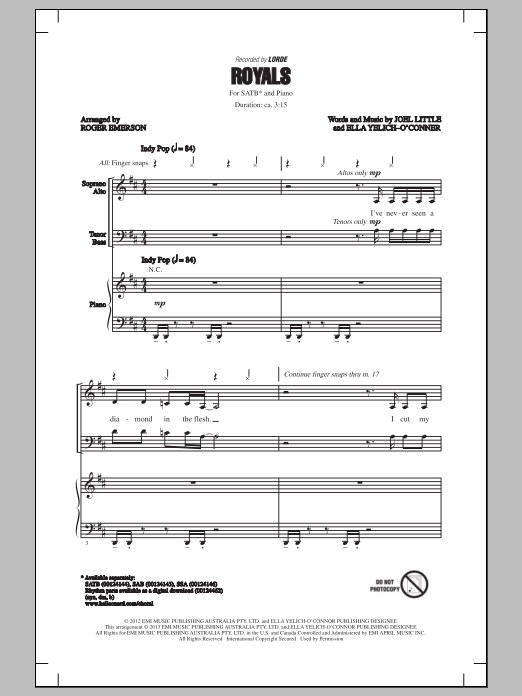 Partition chorale Royals de Roger Emerson - SATB