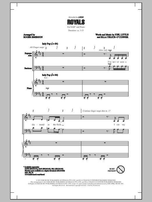 Royals (arr. Roger Emerson) Sheet Music
