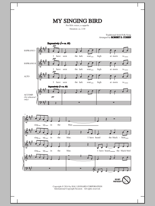 My Singing Bird Sheet Music