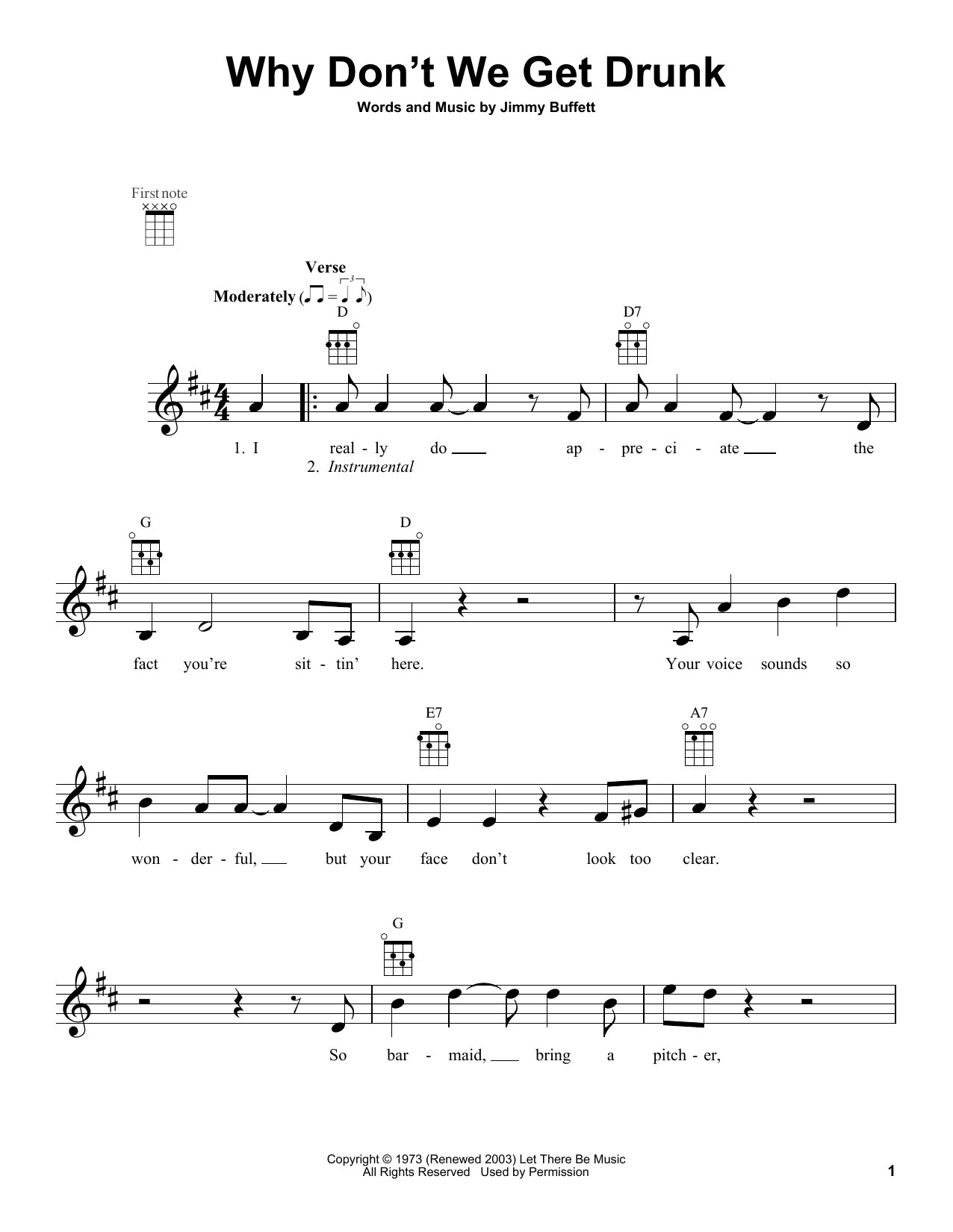 Why Don't We Get Drunk Sheet Music