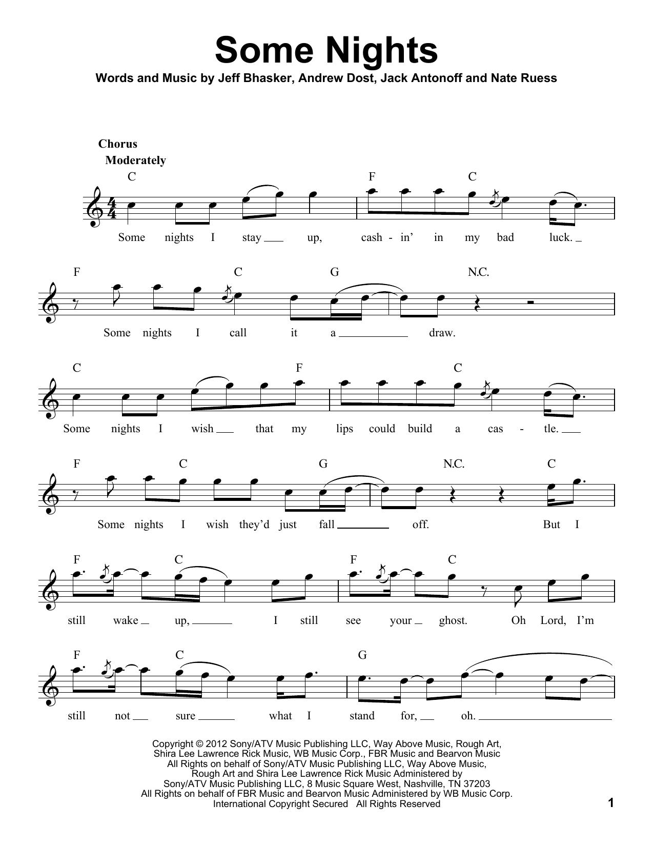 Some Nights Sheet Music