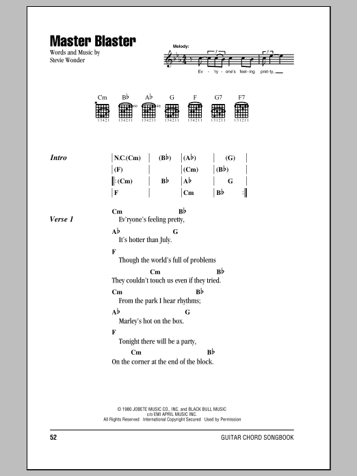 Master Blaster Sheet Music