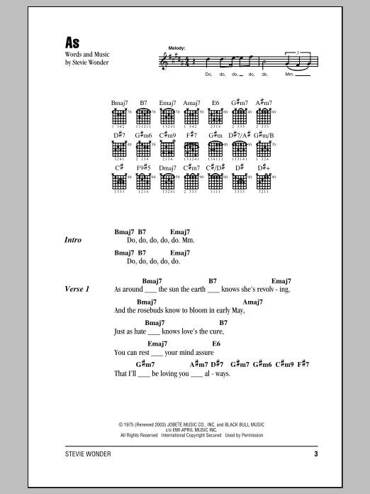 As Sheet Music By Stevie Wonder Lyrics Chords 151772