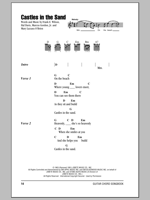 Castles In The Sand Sheet Music