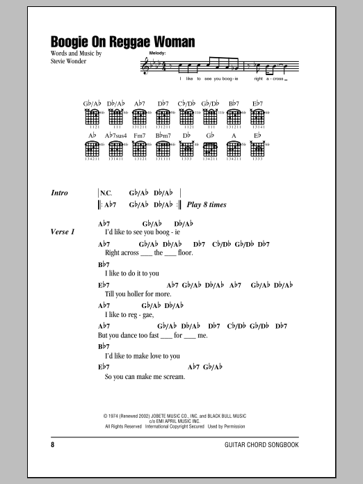 Boogie On Reggae Woman by Stevie Wonder - Guitar Chords/Lyrics ...
