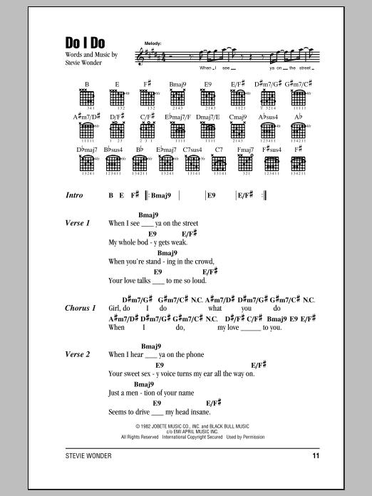 Do I Do By Stevie Wonder Piano Vocal Guitar Right Hand Melody Digital Sheet Music