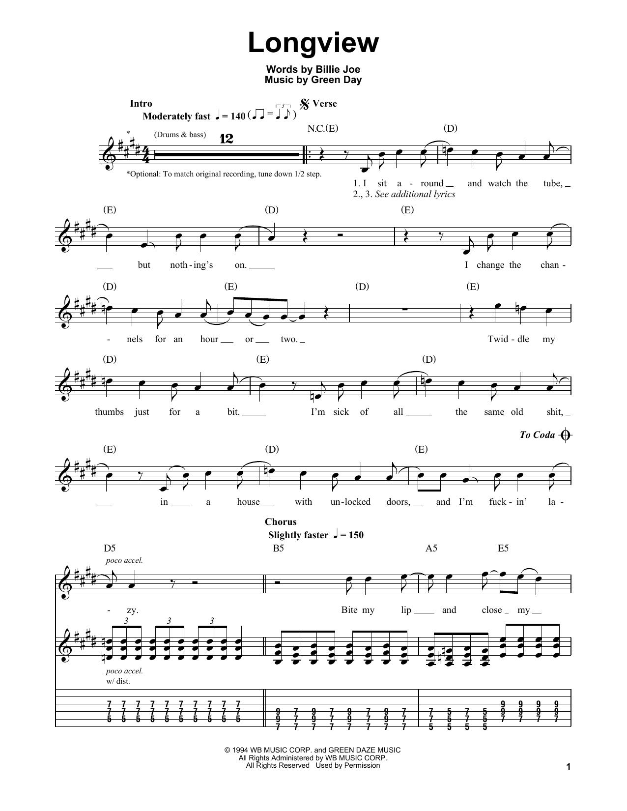 Longview (Easy Guitar Tab)