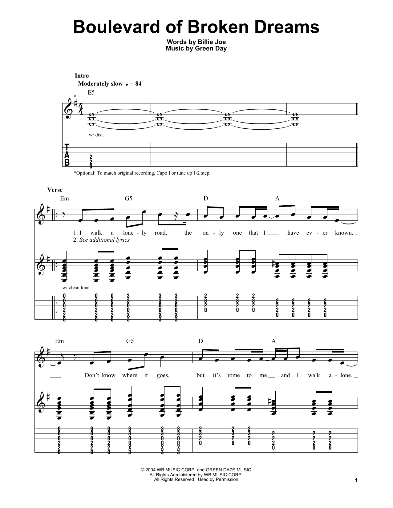 Boulevard Of Broken Dreams Green Day Easy Guitar Tab