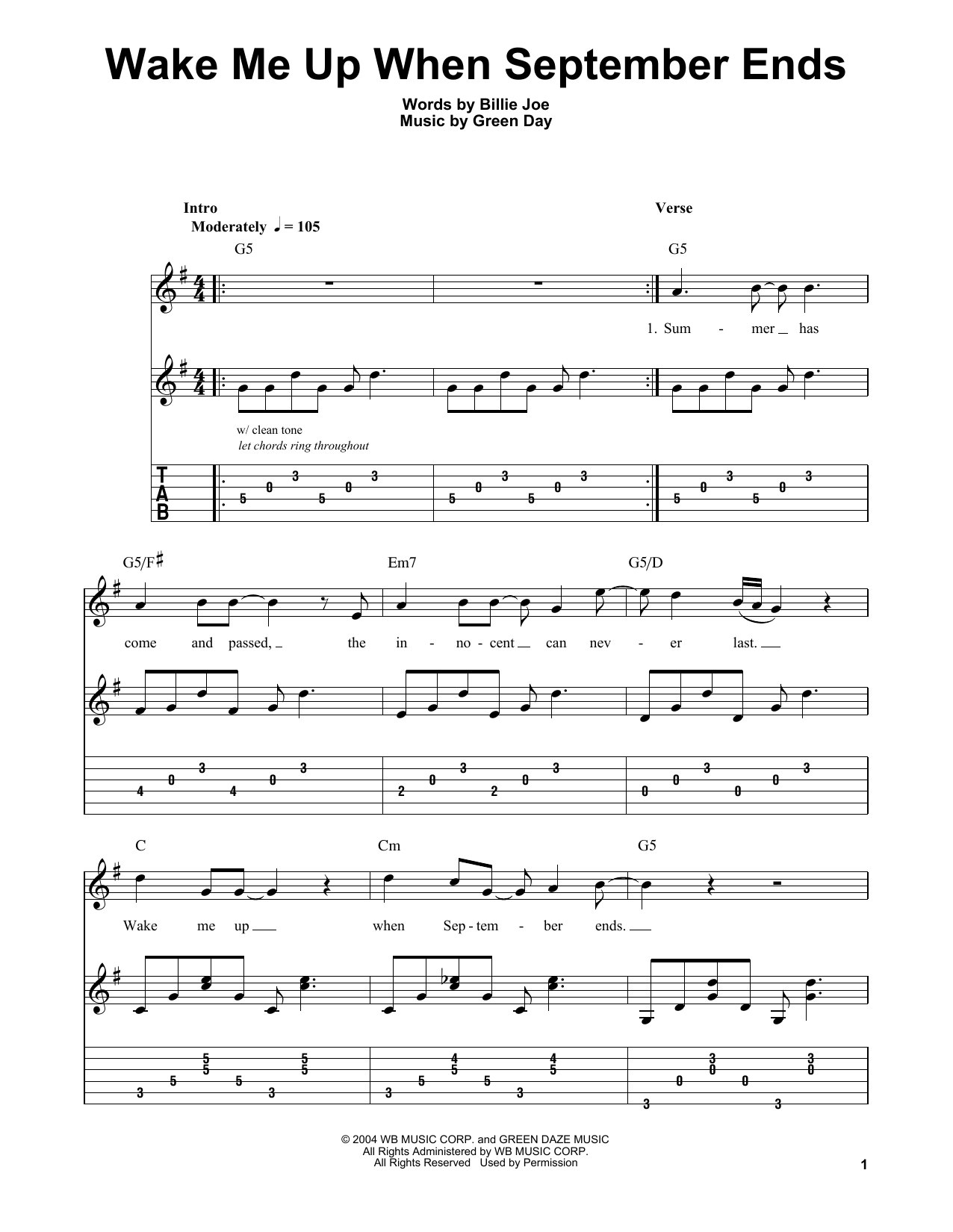 Wake Me Up When September Ends Sheet Music