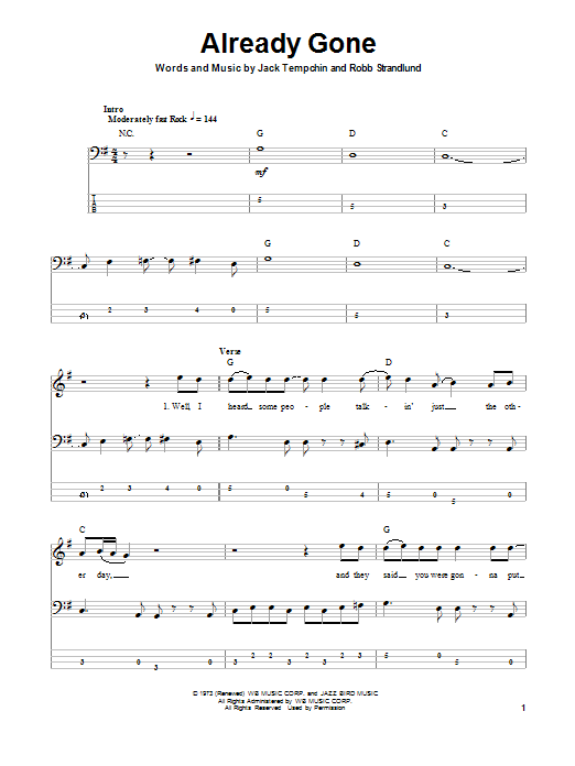 Already Gone (Bass Guitar Tab)