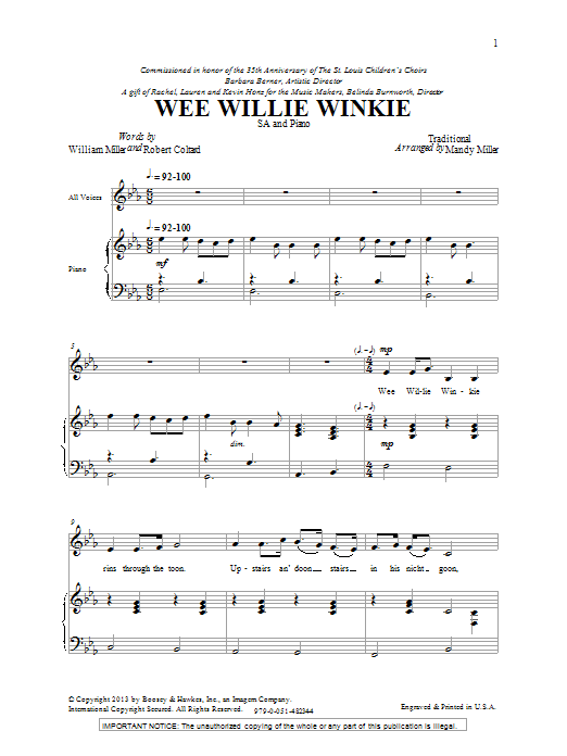 Wee Willie Winkie (2-Part Choir)